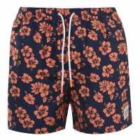 Hot Tuna Мъжки Шорти Printed Shorts Mens Navy/Orange Мъжко облекло за едри хора