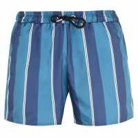 Soulcal Мъжки Плувни Шорти Print Swim Shorts Mens Nvy/Teal Stripe Мъжки плувни шорти и клинове