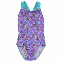 Slazenger Бански Костюм Момиче Sportback Swimsuit Junior Girls Pink/Multi Детски бански и бикини