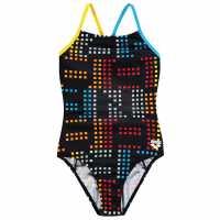Arena Бански Костюм Момиче Neon Swimsuit Junior Girls Black Детски бански и бикини