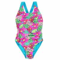 Zoggs Бански Костюм Момиче Cuban Flyback Swimsuit Junior Girls Pink/Multi Детски бански и бикини