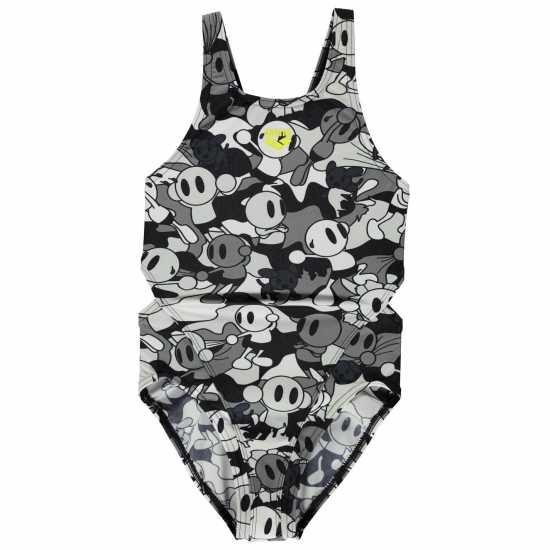 Arena Бански Костюм Момиче Pattern Swimsuit Junior Girls Black/White Детски бански и бикини