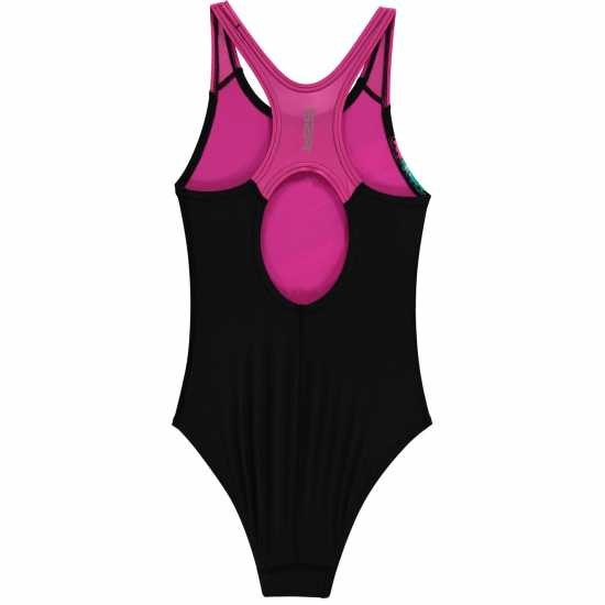 Slazenger Бански Костюм Момиче Sportback Swimsuit Junior Girls Black/Purple Детски бански и бикини