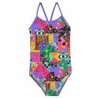 Slazenger Бански Костюм Момиче Thin Strap Swimsuit Junior Girls Purple Print Детски бански и бикини