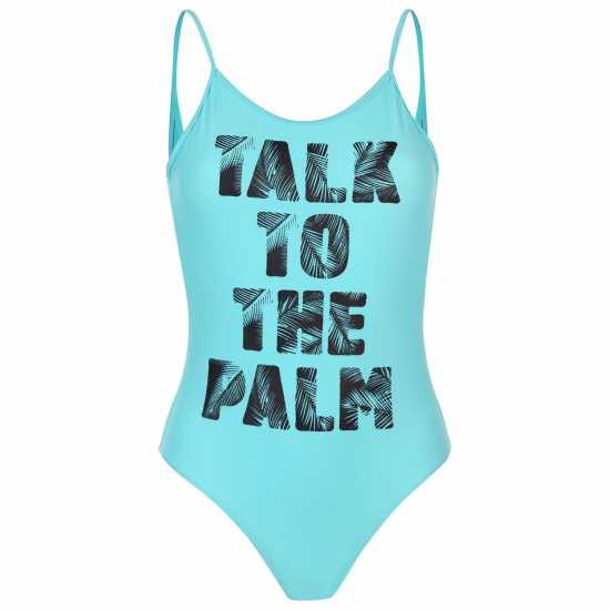 Golddigga Дамски Бански Костюм Scoop Back Swimsuit Ladies Teal Palm Дамски бански костюми