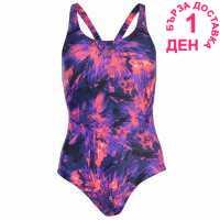 Speedo Funny Fish Powerback Swimwear Ladies Blk/Violet/Pink Дамски бански