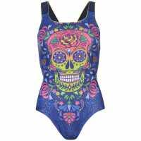 Maru Дамски Бански Костюм Vee Back Swimsuit Ladies Skulls N Rosses Дамски бански