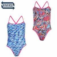 Speedo Дамски Бански Костюм Flip Reversible Swimsuit Ladies Pink/Blue Дамски бански