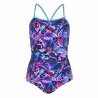 Slazenger Дамски Бански Костюм Boundback Swimsuit Ladies Blue/Plum Дамски бански