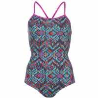 Slazenger Дамски Бански Костюм Boundback Swimsuit Ladies Blue/Pink/Blue Дамски бански