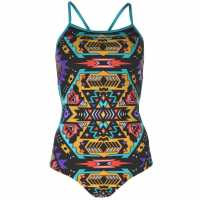 Slazenger Дамски Бански Костюм Boundback Swimsuit Ladies Black/Multi Дамски бански