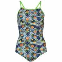 Slazenger Дамски Бански Костюм Thin Strap Swimsuit Ladies Pineapple Дамски бански