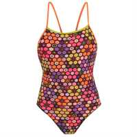 Maru Дамски Бански Костюм Pacer Vision Swimsuit Ladies Pink/Orange Дамски бански костюми