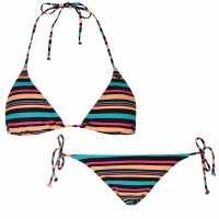 Oneill Дамски Бикини Комплект Райе Stripe Bikini Set Ladies Black Stripe Дамски бански