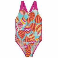 Speedo Бански Костюм Момиче Aop Speedback Swimsuit Junior Girls Pink/Blue Детски бански и бикини