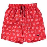 Speedo Младежки Шорти С Щампа All Over Print Shorts Junior Boys Red/White Мъжки плувни шорти и клинове