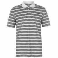 Slazenger Мъжко Поло Райе Stripe Polo Shirt Mens White/Black Мъжко облекло за едри хора