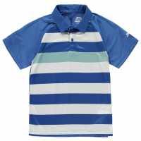 Slazenger Детска Блуза С Яка Bold Stripe Polo Shirt Junior Boys Blue/White Детски тениски тип поло