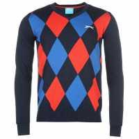 Slazenger Мъжки Пуловер За Голф Argyle V Neck Golf Sweater Mens Navy Marl/Red Мъжки пуловери и жилетки