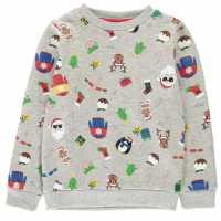 Star Детска Блуза Обло Деколте Christmas Crew Neck Sweatshirt Juniors Xmas Family AOP Коледни пуловери