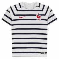 Nike Детска Тениска France Pre Match T Shirt Junior White/Red/Blue Детски тениски и фланелки