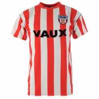 Scoredraw Мъжка Фланелка Домакин Score Draw Sunderland Football Club 1990 Home Jersey Mens Red/White Футболни тениски на Съндърленд