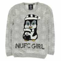 Team Коледен Пуловер За Момичета Nufc Christmas Jumper Junior Girls Penguin Коледни пуловери