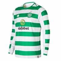 New Balance Домакинска Футболна Фланелка Celtic Long Sleeve Home Shirt 2018 2019 White/Green Футболни фланелки на Селтик