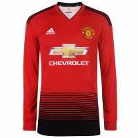 Adidas Домакинска Футболна Фланелка Manchester United Long Sleeve Home Shirt 2018 2019 Red Футболни тениски на Манчестър Юнайтед