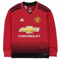 Adidas Домакинска Футболна Фланелка Manchester United Long Sleeve Home Shirt 2018 2019 Junior Red Футболни тениски на Манчестър Юнайтед