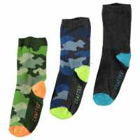Crafted Essentials 3 Pack Camouflage Socks Child Boys Camouflage Детски чорапи