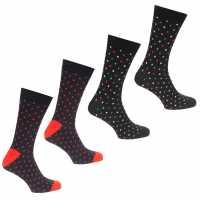 Jack And Jones Мъжки Чорапи На Точки 4Pk Polka Dot Socks Red/Sun Мъжки чорапи