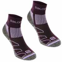 Salomon Merino Low 2 Pack Ladies Walking Socks Plum/Lila Дамски чорапи