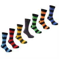 Kangol Мъжки Официални Чорапи 7Бр. В Опаковка Formal 7 Pack Socks Bold Stripe Мъжки чорапи