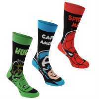 Marvel Мъжки Чорапи С Ластик 3Бр. 3 Pack Crew Socks Mens Marvel Мъжки чорапи