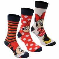 Disney 3 Чифта Дамски Чорапи 3 Pack Crew Socks Ladies Minnie Дамски чорапи