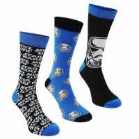 Star Wars Мъжки Чорапи С Ластик 3Бр. 3 Pack Crew Socks Mens Star Wars Мъжки чорапи