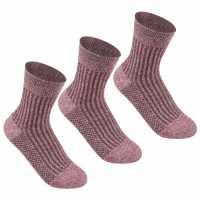 Lee Cooper Дамски Чорапи 3 Pack Rib Crew Socks Ladies Fuschia Дамски чорапи