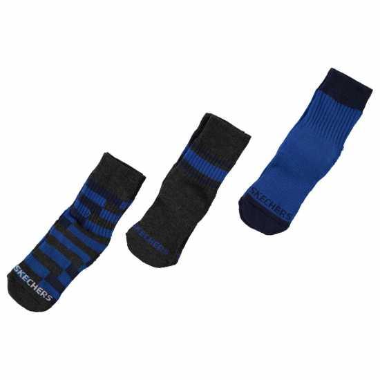 Skechers Мъжки Чорапи С Ластик 3Бр. 3 Pack Crew Socks Junior Boys Grey/Blue Детски чорапи