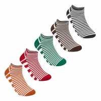 Lee Cooper 5 Pack Stripe Trainer Socks Mens  Мъжки чорапи