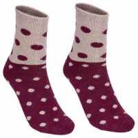 Lee Cooper 2 Pack Spotty Socks Ladies Burgundy Дамски чорапи