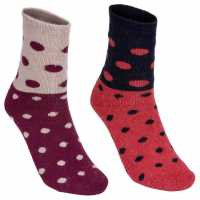 Lee Cooper 2 Pack Spotty Socks Ladies Burgundy/Red Дамски чорапи