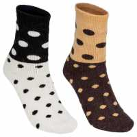 Lee Cooper 2 Pack Spotty Socks Ladies White/Brown Дамски чорапи