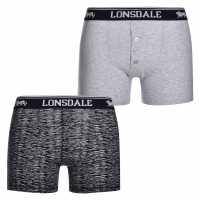 Lonsdale Мъжки Боксерки 2 Pack Boxers Mens Black Print Мъжко бельо