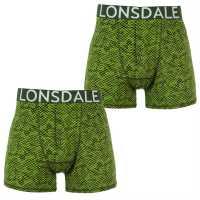 Lonsdale Мъжки Боксерки 2 Pack Boxers Mens Green Digi Camo Мъжко бельо