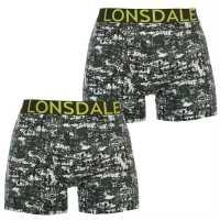 Lonsdale Мъжки Боксерки 2 Pack Boxers Mens Khaki Grunge Мъжко бельо
