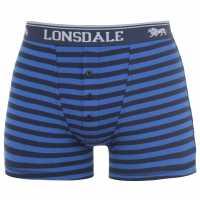 Lonsdale Мъжки Боксерки 2 Pack Boxers Mens Royal Stripe Мъжко бельо