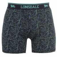 Lonsdale Мъжки Боксерки 2 Pack Boxers Mens Blk Pattern Мъжко бельо