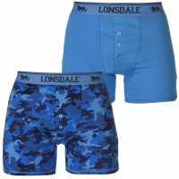Lonsdale Мъжки Боксерки 2 Pack Boxers Mens Blue/Camo AOP Мъжко бельо