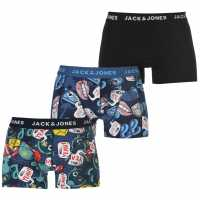 Jack And Jones 3 Pack Printed Trunks Blu/Blk/Red Мъжко бельо
